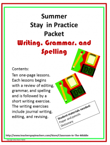 Summer Practice Packet - Writing