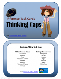 Inference Task Cards - Thinking Caps, from Classroom in the Middle