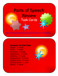 Parts of Speech Task Cards-