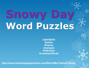 Snowy day word puzzles