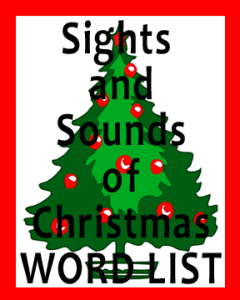 Vocabulary list of words for the Christmas holiday.