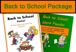 Back to School Package, with 13 activities and a fun word puzzles PowerPoint, from Classroom in the Middle