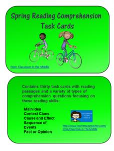 Spring Reading Task Cards