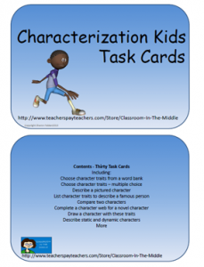 Characterization Kids Task Cards, from Classroom in the Middle