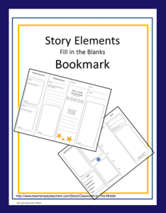 Story Elements Bookmark FREE