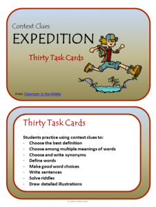Context Clues task cards -Expedition, from Classroom in the MIddle