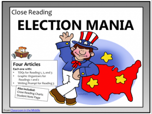 Close reading - elections, four articles with everything needed for a full close-reading of each