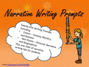 Narrative Writing Prompts - 25 prompts with student directions, each on an individual slide. Also included is a page of helpful information for students about narrative writing.