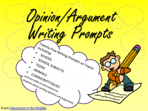 Opinion/Argument Writing Prompts - 25 prompts with student directions, each on an individual slide. Also included is a page of helpful information for students about opinion and argument writing.