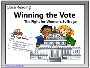 Winning the Vote, close reading freebie from Classroom in the Middle