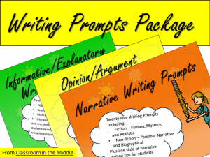 Writing Prompts Package - three PowerPoint presentations with 25 prompts each