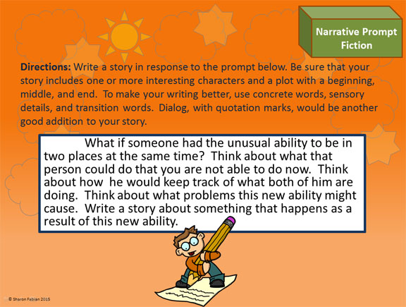 narrative writing prompts sample slide