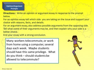 Opinion/Argument Writing Prompts - sample slide