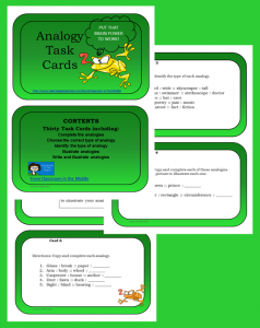 Analogies Task Cards, set of 30 cards, from Classroom in the Middle, on Teachers Pay Teachers