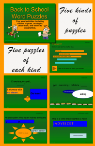 Back to School Word Puzzles PowerPoint -five kinds of puzzles with a back-to-school theme