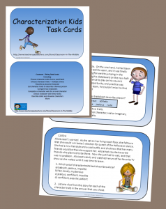 Characterization Kids Task Cards, set of 30 cards, from Classroom in the Middle, on Teachers Pay Teachers