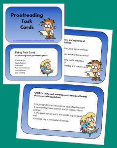 Proofreading Task Cards, from Classroom in the Middle, on Teachers Pay Teachers