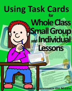 Using Task Cards - ideas for whole class,small group, and individual lessons