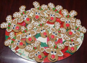 Reindeer cookies from a gingerbread cookie cutter