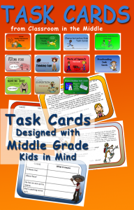 Task cards for grades 4 - 7, from Classroom in the Middle
