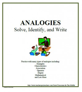 Analogies - Solve, Identify, and Write