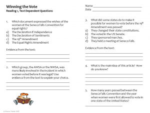 Winning the Vote - Close Reading questions