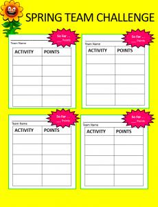 Spring Challenge Board - Blank