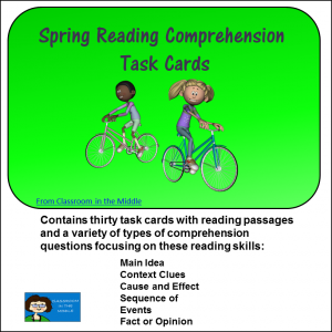 spring reading comprehenson task cards