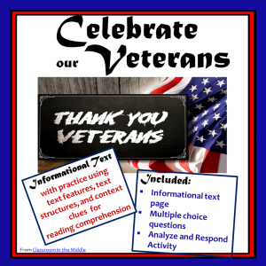 Memorial Day, Veterans Day - Informational Text Activity