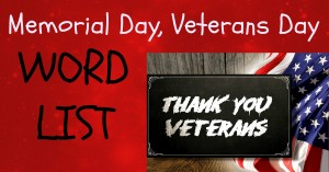Memorial Day, Veterans Day - Word List 2