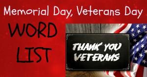 Memorial Day, Veterans Day - Word List 2