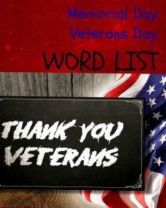Memorial Day, Veterans Day - Word List