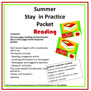 Summer Practice Packet - Reading