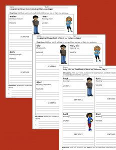 Latin and Greek roots - activity sheets
