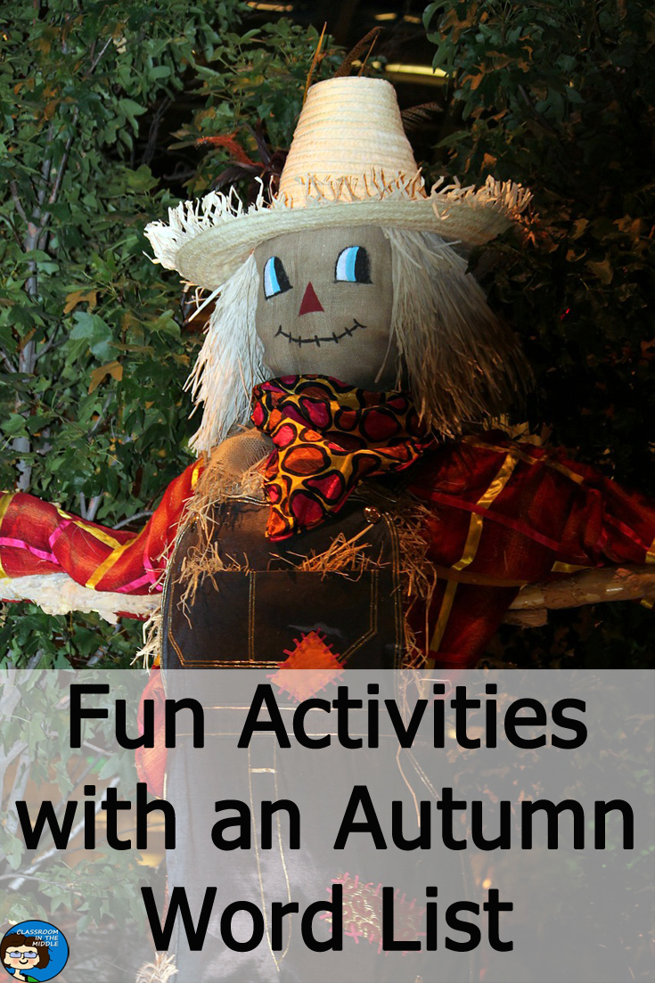 fun activities with an autumn word list
