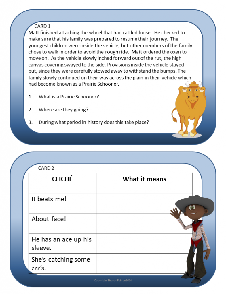Inferences Task Cards - Thinking Caps - Sample 1-2
