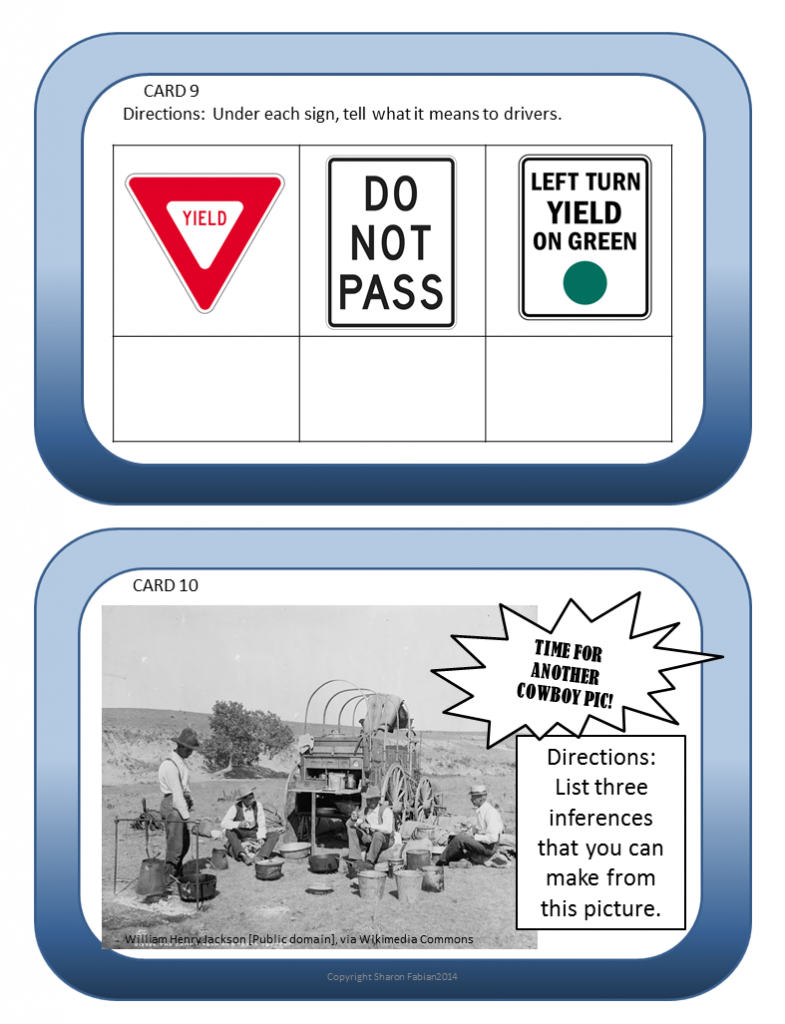 Inferences Task Cards, Thinking Caps - Sample 2