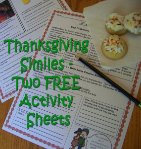 thanksgiving similes-two-free-activity sheets
