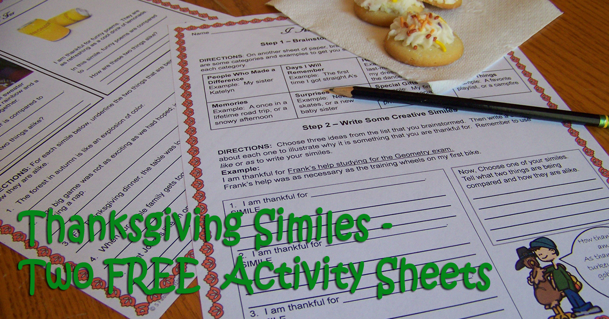 thanksgiving similes-two-free-activity-sheets