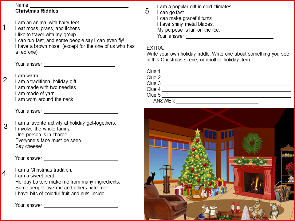 Christmas Riddles Freebie page