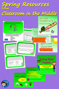 Spring Resources from Classroom in the Middle pin