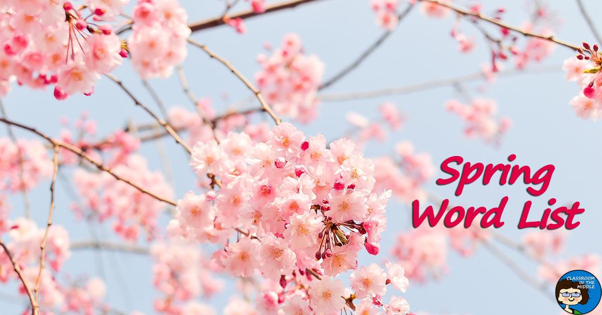Spring Word List, Vocabulary