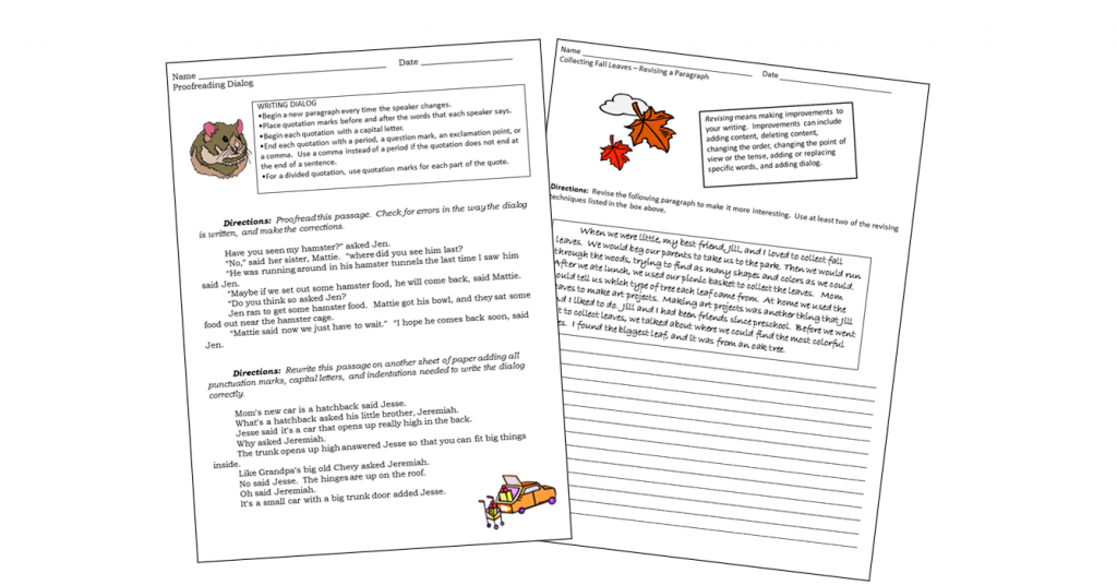 Revise and Proofread Worksheet Set - sample pages