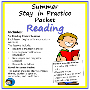 Summer Practice Packet - Reading, sq cover