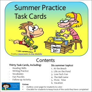 Summer Practice Task Cards