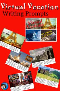 Virtual Vacation writing prompts pin