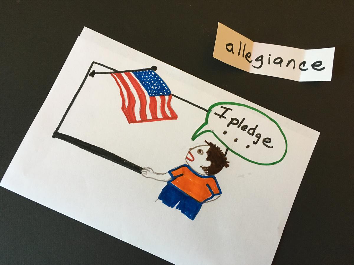 Kid pledging allegiance