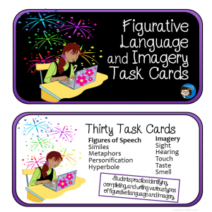 Figurative Language and Imagery Task Cards - cover, sq