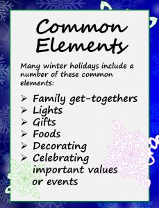 Winter Holidays Chart - Common Elements