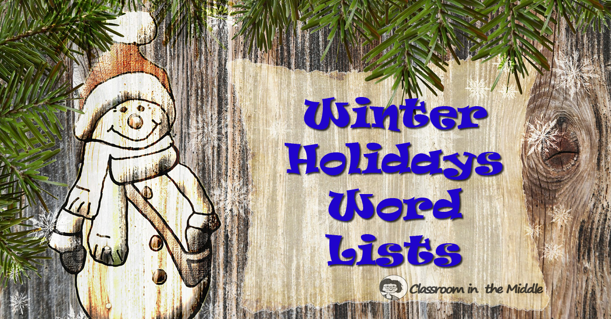 Winter Holidays Word Lists fb